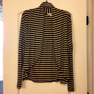 Sweaters - Drape Open Front Cardigan Navy Yellow
